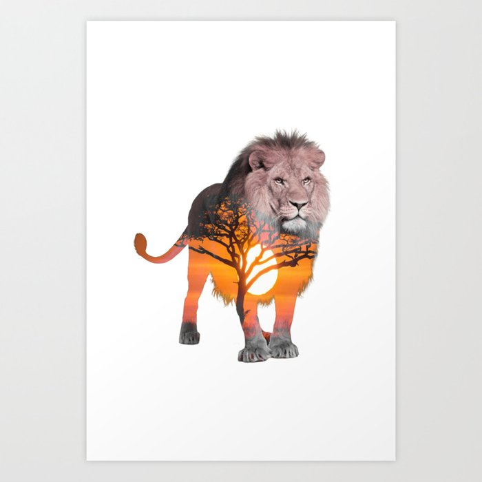LION poster, Savanna canvas, Art Print