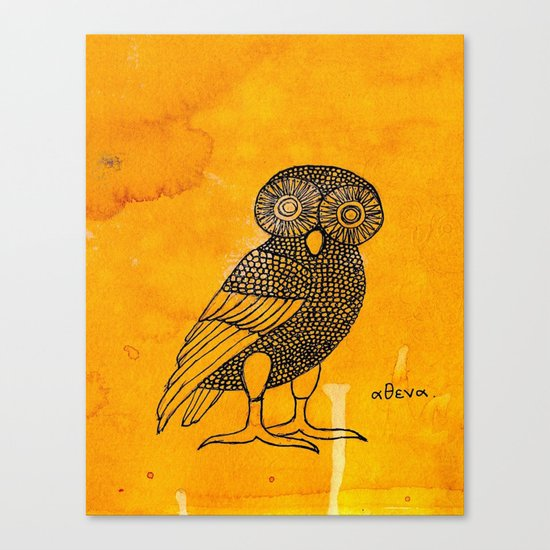 ATHENA'S OWL IN TEA & COFFEE BACKGROUND  Canvas Print