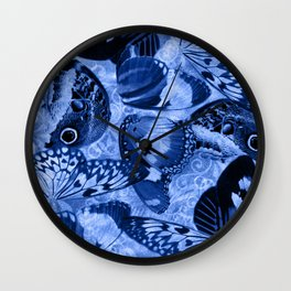 Blue Exotic Butterfly Wings and Scroll Collage Wall Clock