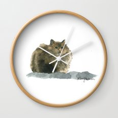 Cat on the rocks Wall Clock