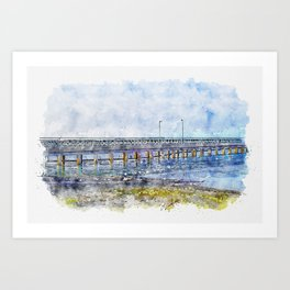 Aquarelle sketch art. Photo of pier in sunset with anchor Art Print