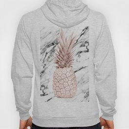 Rose Gold Pineapple on Black and White Marble Hoody