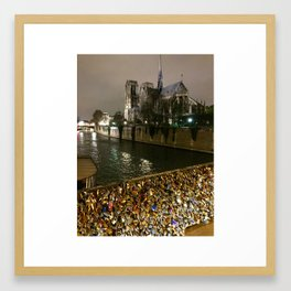 Paris, Love Locks, Ponts des Arts, Lover's Bridge, Notre Dame, Paris at Night, City of Lights Framed Art Print