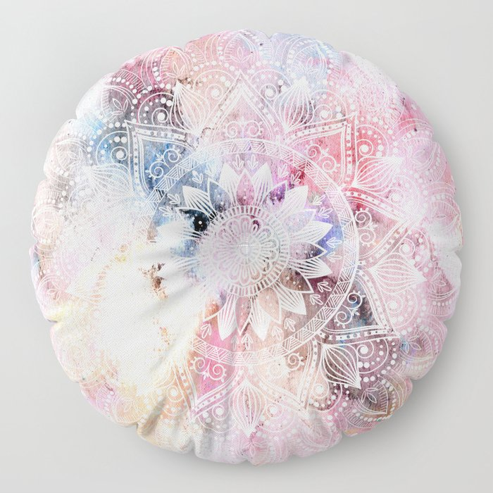 Whimsical white watercolor mandala design Floor Pillow