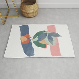 Abstract still nature with watercolour shapes Rug