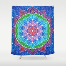 Lotus Flower of Life Shower Curtain