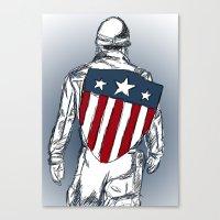 chris evans Canvas Prints featuring Captain America (Chris Evans) by  Steve Wade ( Swade)