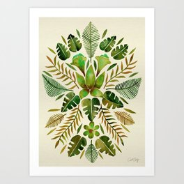 Tropical Symmetry – Olive Green Art Print