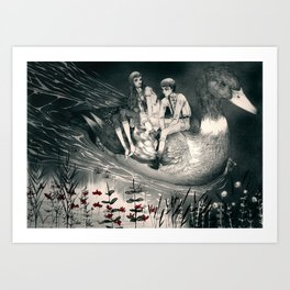 Hansel and Gretel and the Duck Art Print