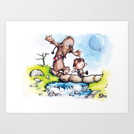 Calvin Solo and Hobbes-bacca Art Print
