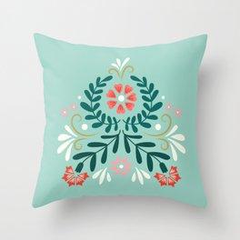 Floral Folk Pattern Throw Pillow
