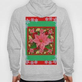 DECORATIVE SNOWFLAKES RED & PINK POINSETTIAS CHRISTMAS ART Hoody