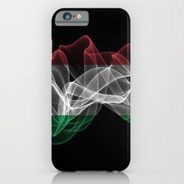 Hungary Smoke Flag on Black Background, Hungary flag iPhone Case