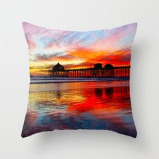 Huntington Beach Sunset    11/8/13 Throw Pillow