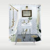 bathroom Shower Curtains featuring In The Bathroom by Yuliya