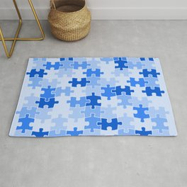 Blue Jigsaw Puzzle Rug