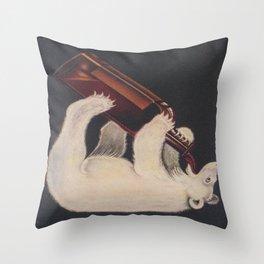 Polar Bear Drinking a Bottle Throw Pillow
