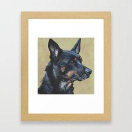 Australian Kelpie portrait dog art from an original painting by L.A.Shepard Framed Art Print