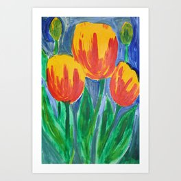 Tulips in the Lady Wisdom's Garden Art Print