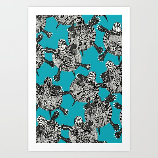 turtle party surf blue Art Print