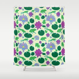 Jumping Frogs of Lily Pad Valley Shower Curtain