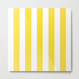Banana yellow - solid color - white vertical lines pattern Metal Print