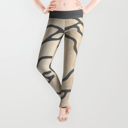 Rose in White Gold Sands on Storm Gray Leggings