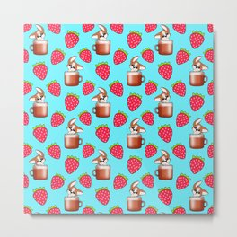 Cute little happy funny little baby Corgi puppies sitting in espresso coffee cups, yummy red ripe sweet summer strawberries light pastel blue fruity pattern design. Metal Print