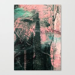 Standing // acrylic painting, pink & green Canvas Print