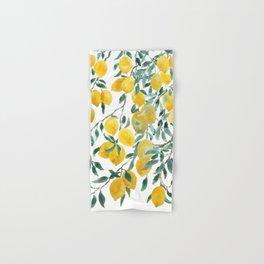 watercoor yellow lemon pattern Hand & Bath Towel