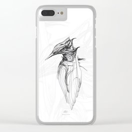 Kingfisher 1a. Black on white background-(Red eyes series) Clear iPhone Case