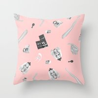 barbie Throw Pillows featuring Barbie Doll by Wizard No Heart