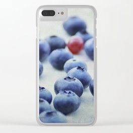 Blue berries with one red currant Clear iPhone Case