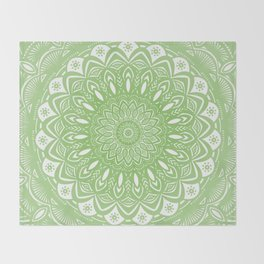 Light Lime Green Mandala Simple Minimal Minimalistic Throw Blanket