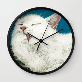 White Cat Grooming Wall Clock