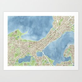 City Map Madison Wisconsin watercolor  Art Print