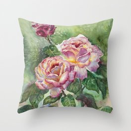 Grandma's Roses Throw Pillow
