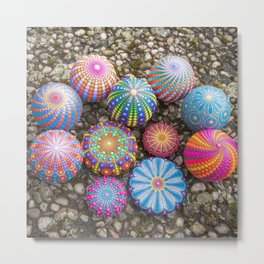 Collection of hand painted mandala stones Metal Print