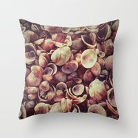 shells Throw Pillows featuring Shells by HooVeHee