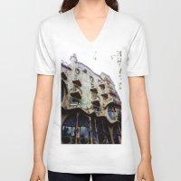 barcelona V-neck T-shirts featuring Barcelona by Bryony Ogilvie