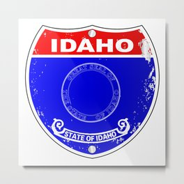 Idaho Flag Icons As A  Interstate Sign Metal Print