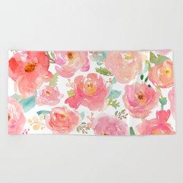 Pink Peonies Watercolor Pattern Beach Towel