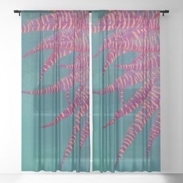 Agave psychedelic colors Sheer Curtain