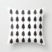 christmas tree Throw Pillows featuring Christmas Tree by uzualsunday