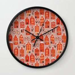 Red Orange Holland Houses Wall Clock