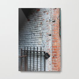 White Brick Wall and Metal Fence Metal Print