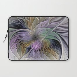Abstract Flower, Colorful Floral Fractal Art Laptop Sleeve