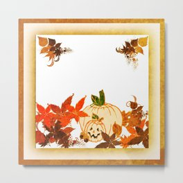 Painterly Pumpkin And Fall Leaves  Metal Print