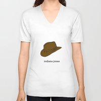 indiana V-neck T-shirts featuring Indiana Jones by Illustrated by Jenny