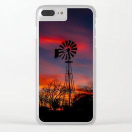 Windmill in the Setting Sun Clear iPhone Case